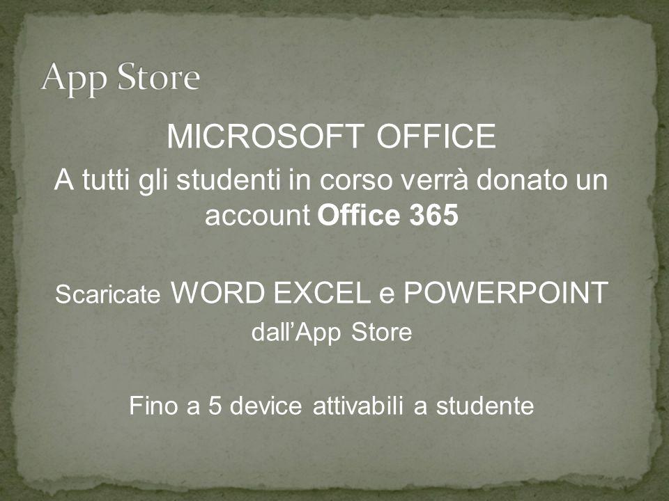 MICROSOFT OFFICE A tutti gli studenti in corso verrà donato un account Office 365 Scaricate WORD EXCEL e POWERPOINT dall'App Store Fino a 5 device attivabili a studente