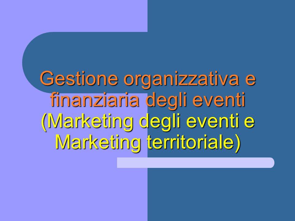 Gestione organizzativa e finanziaria degli eventi (Marketing degli eventi e Marketing territoriale)