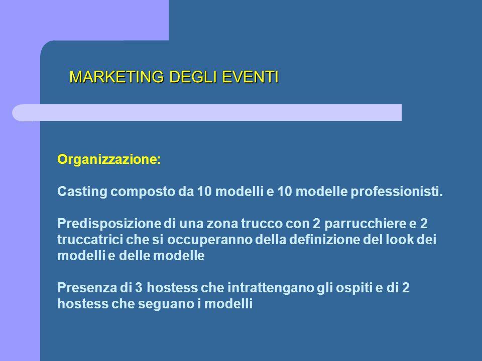 MARKETING DEGLI EVENTI Organizzazione: Casting composto da 10 modelli e 10 modelle professionisti. Predisposizione di una zona trucco con 2 parrucchie
