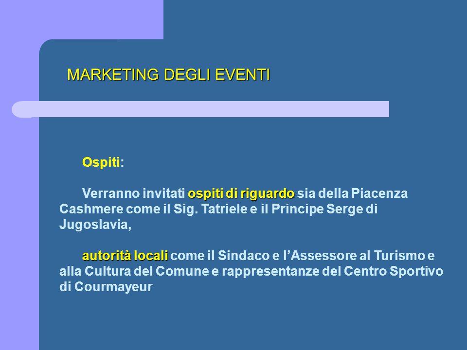 MARKETING DEGLI EVENTI Ospiti: ospiti di riguardo Verranno invitati ospiti di riguardo sia della Piacenza Cashmere come il Sig. Tatriele e il Principe