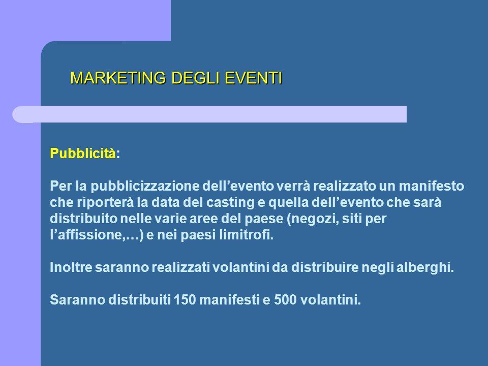 MARKETING DEGLI EVENTI Pubblicità: Per la pubblicizzazione dell'evento verrà realizzato un manifesto che riporterà la data del casting e quella dell'e