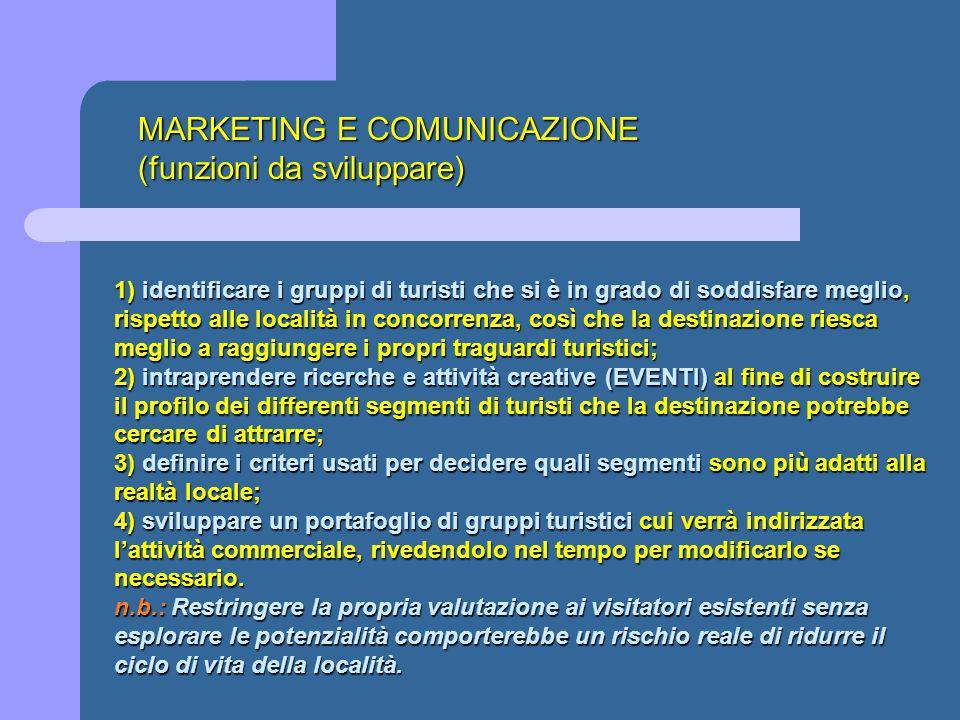 MARKETING E COMUNICAZIONE (funzioni da sviluppare) 1) identificare i gruppi di turisti che si è in grado di soddisfare meglio, rispetto alle località