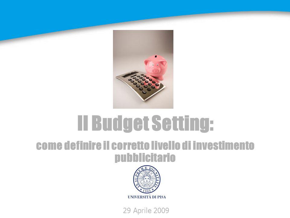 Definizione del Budget Ottimale Obiettivo: -definire il budget necessario per raggiungere gli obiettivi di marketing Metodi: -in rapporto al fatturato -in ragione degli obiettivi di vendita -in funzione della concorrenza -Curva di contribuzione -SOV/SOM -ecc.