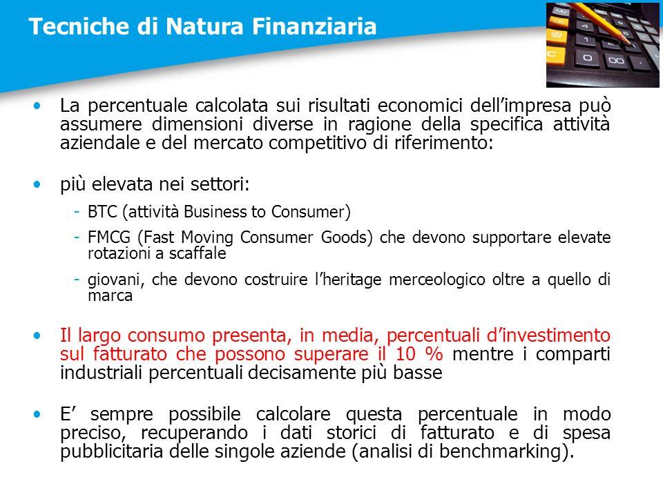 Tecniche di Natura Finanziaria La percentuale calcolata sui risultati economici dell'impresa può assumere dimensioni diverse in ragione della specific