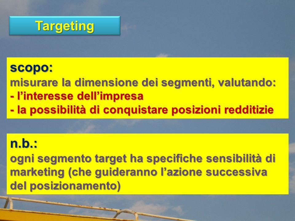 TargetingTargeting scopo: misurare la dimensione dei segmenti, valutando: - l'interesse dell'impresa - la possibilità di conquistare posizioni redditizie n.b.: ogni segmento target ha specifiche sensibilità di marketing (che guideranno l'azione successiva del posizionamento)
