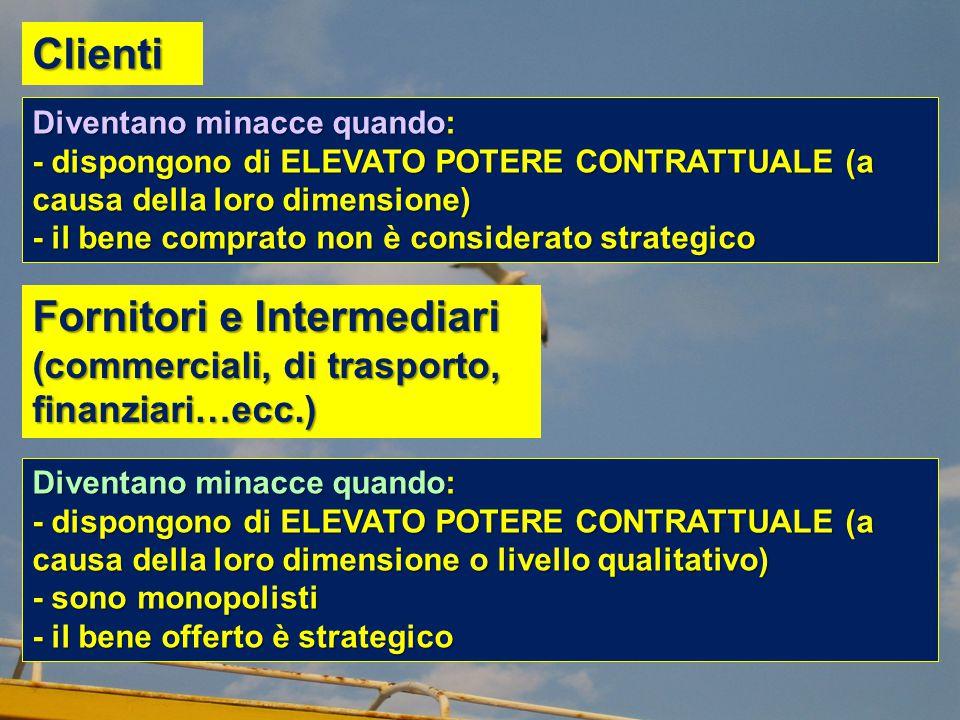 Fornitori e Intermediari (commerciali, di trasporto, finanziari…ecc.) Diventano minacce quando: - dispongono di ELEVATO POTERE CONTRATTUALE (a causa d