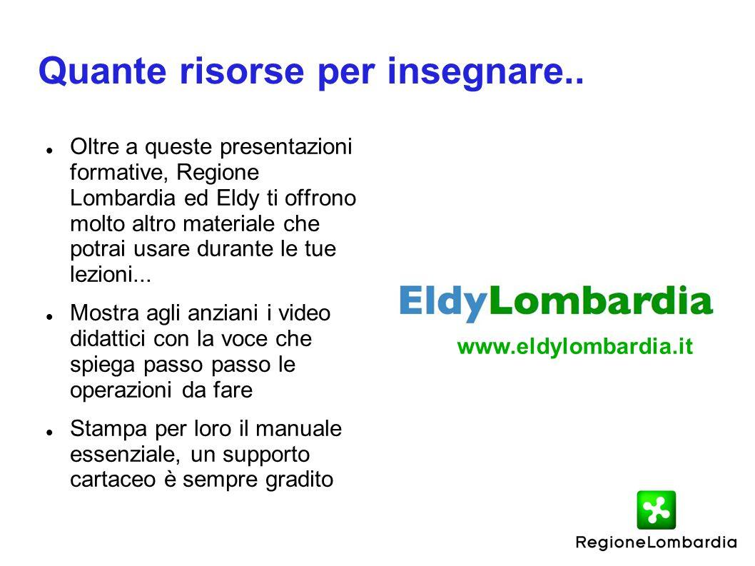 Quante risorse per insegnare.. Oltre a queste presentazioni formative, Regione Lombardia ed Eldy ti offrono molto altro materiale che potrai usare dur
