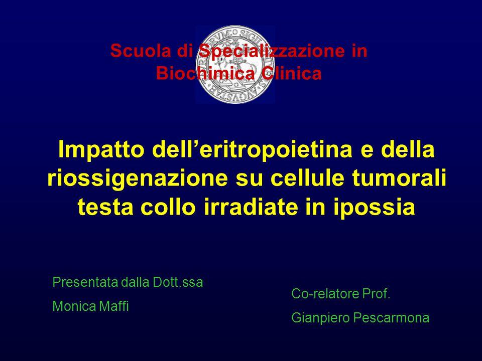 Impatto dell'eritropoietina e della riossigenazione su cellule tumorali testa collo irradiate in ipossia Scuola di Specializzazione in Biochimica Clinica Presentata dalla Dott.ssa Monica Maffi Co-relatore Prof.