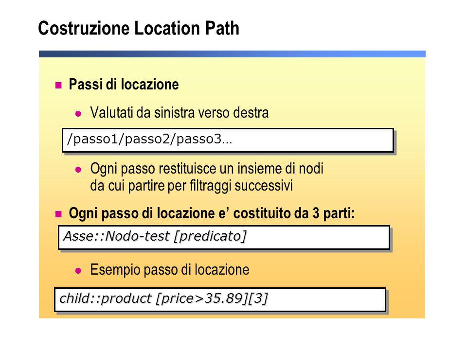Costruzione Location Path Passi di locazione Valutati da sinistra verso destra Ogni passo restituisce un insieme di nodi da cui partire per filtraggi