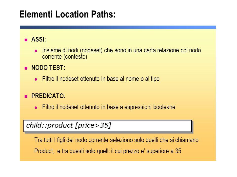 Elementi Location Paths: ASSI: Insieme di nodi (nodeset) che sono in una certa relazione col nodo corrente (contesto) NODO TEST: Filtro il nodeset ott