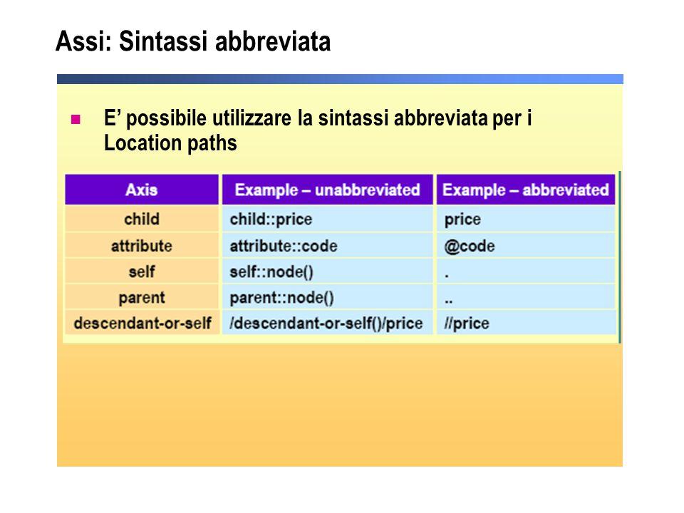 Assi: Sintassi abbreviata E' possibile utilizzare la sintassi abbreviata per i Location paths