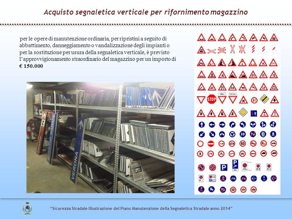 """""""Sicurezza Stradale Illustrazione del Piano Manutenzione della Segnaletica Stradale anno 2014"""" per le opere di manutenzione ordinaria, per ripristini"""