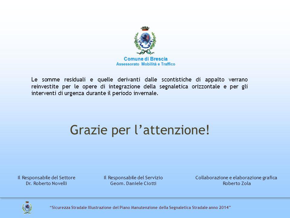 """Grazie per l'attenzione! Comune di Brescia Assessorato Mobilità e Traffico """"Sicurezza Stradale Illustrazione del Piano Manutenzione della Segnaletica"""