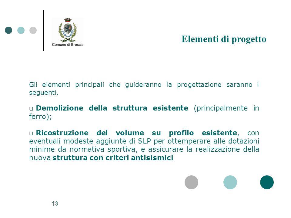 13 Gli elementi principali che guideranno la progettazione saranno i seguenti.  Demolizione della struttura esistente (principalmente in ferro);  Ri