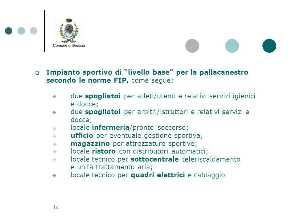 """14  Impianto sportivo di """"livello base"""" per la pallacanestro secondo le norme FIP, come segue:  due spogliatoi per atleti/utenti e relativi servizi"""