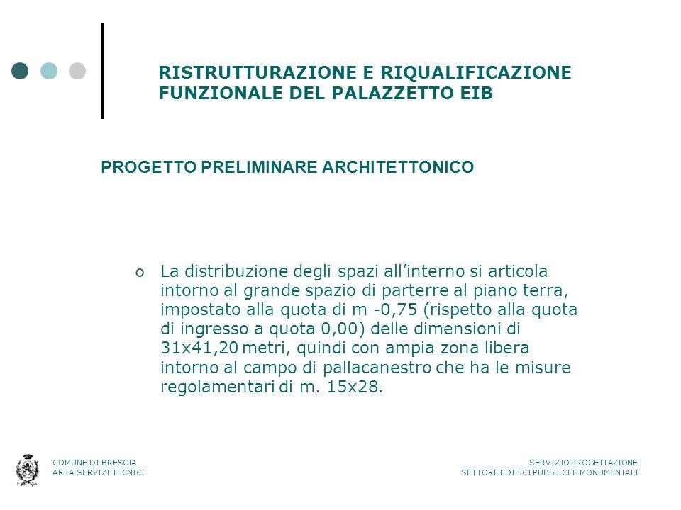 RISTRUTTURAZIONE E RIQUALIFICAZIONE FUNZIONALE DEL PALAZZETTO EIB PROGETTO PRELIMINARE ARCHITETTONICO La distribuzione degli spazi all'interno si arti