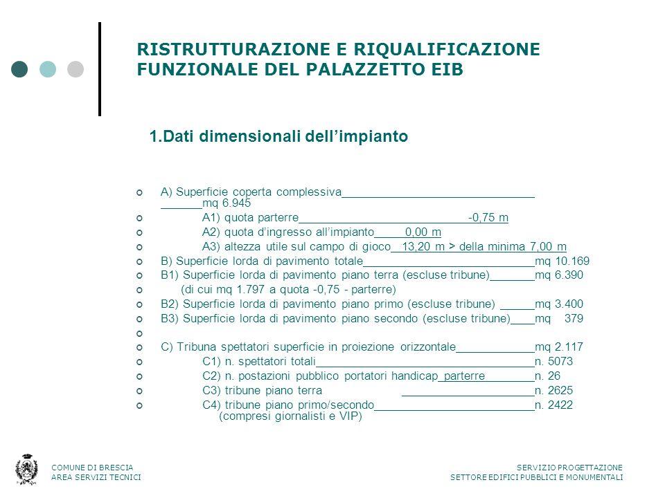 RISTRUTTURAZIONE E RIQUALIFICAZIONE FUNZIONALE DEL PALAZZETTO EIB A) Superficie coperta complessiva mq 6.945 A1) quota parterre-0,75 m A2) quota d'ing