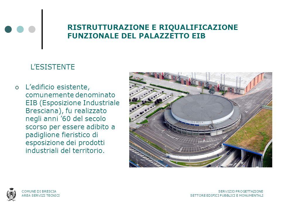 RISTRUTTURAZIONE E RIQUALIFICAZIONE FUNZIONALE DEL PALAZZETTO EIB L'edificio esistente, comunemente denominato EIB (Esposizione Industriale Bresciana)