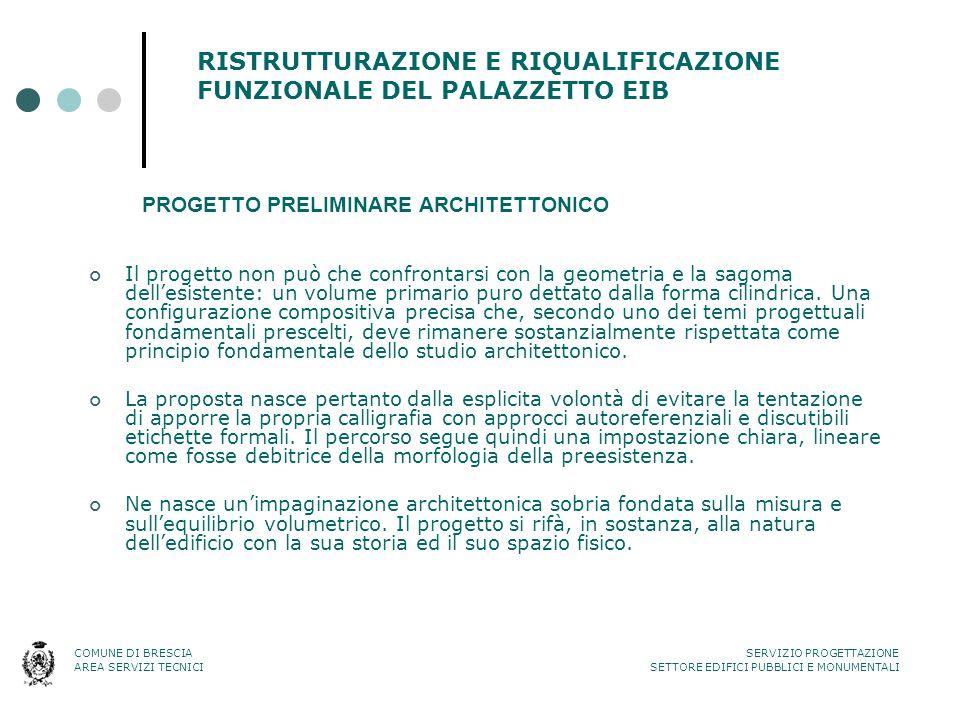 RISTRUTTURAZIONE E RIQUALIFICAZIONE FUNZIONALE DEL PALAZZETTO EIB Il progetto non può che confrontarsi con la geometria e la sagoma dell'esistente: un