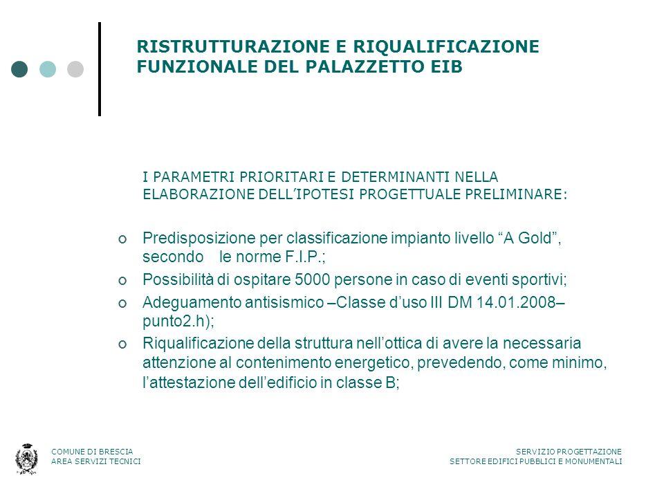RISTRUTTURAZIONE E RIQUALIFICAZIONE FUNZIONALE DEL PALAZZETTO EIB I PARAMETRI PRIORITARI E DETERMINANTI NELLA ELABORAZIONE DELL'IPOTESI PROGETTUALE PR