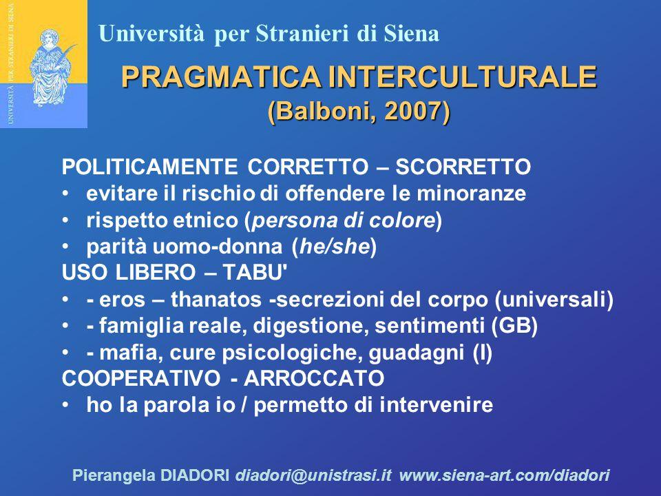 Università per Stranieri di Siena Pierangela DIADORI diadori@unistrasi.it www.siena-art.com/diadori PRAGMATICA INTERCULTURALE (Balboni, 2007) POLITICAMENTE CORRETTO – SCORRETTO evitare il rischio di offendere le minoranze rispetto etnico (persona di colore) parità uomo-donna (he/she) USO LIBERO – TABU - eros – thanatos -secrezioni del corpo (universali) - famiglia reale, digestione, sentimenti (GB) - mafia, cure psicologiche, guadagni (I) COOPERATIVO - ARROCCATO ho la parola io / permetto di intervenire