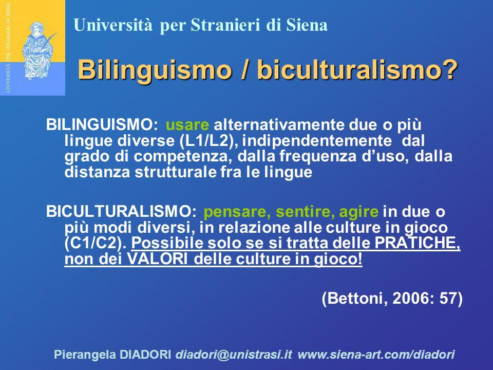 Università per Stranieri di Siena Pierangela DIADORI diadori@unistrasi.it www.siena-art.com/diadori Bilinguismo / biculturalismo.