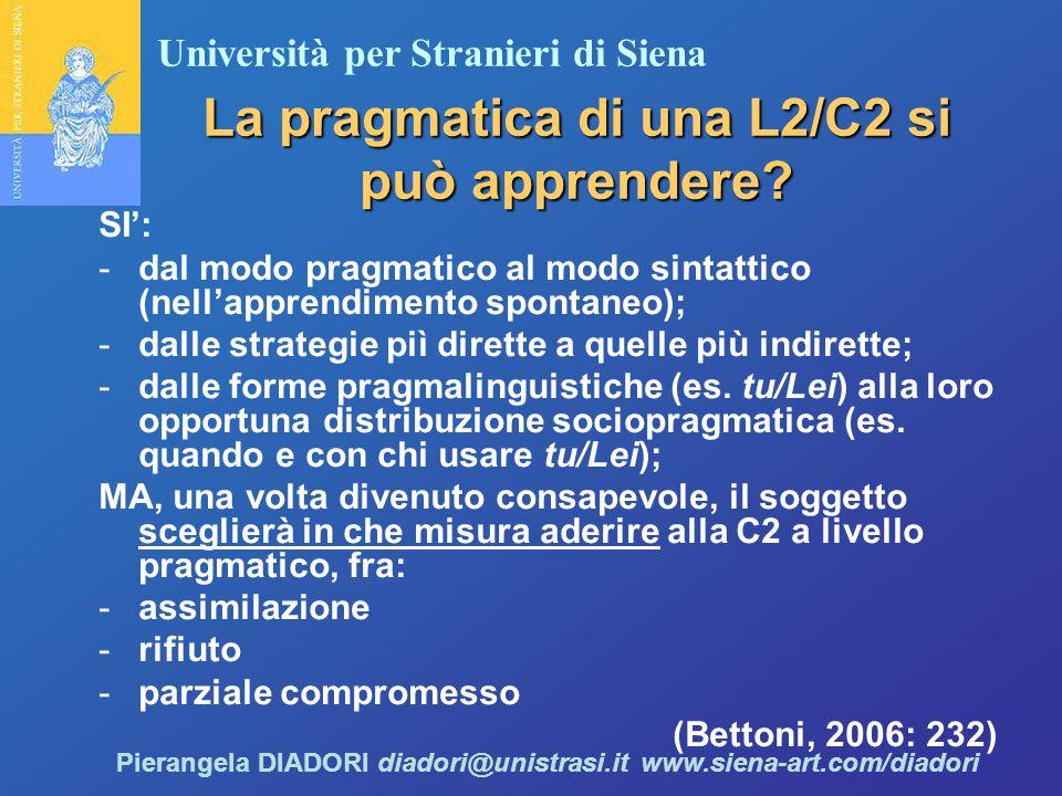 Università per Stranieri di Siena Pierangela DIADORI diadori@unistrasi.it www.siena-art.com/diadori La pragmatica di una L2/C2 si può apprendere.