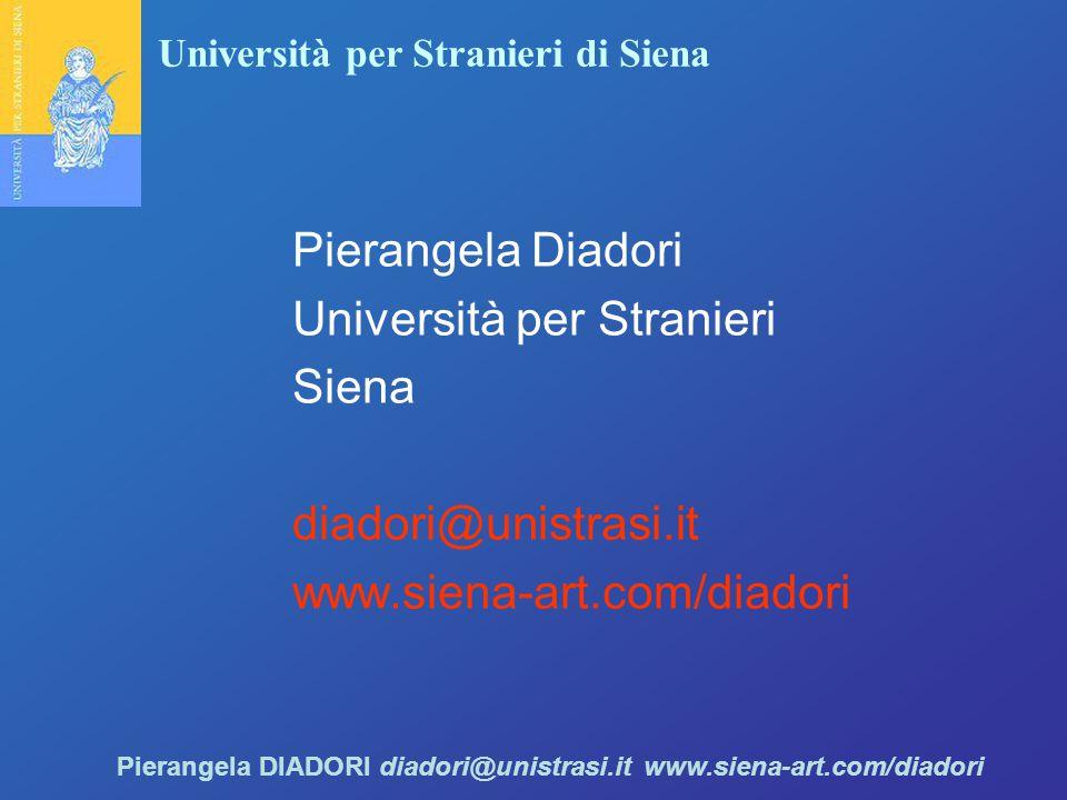 Università per Stranieri di Siena Pierangela DIADORI diadori@unistrasi.it www.siena-art.com/diadori Pierangela Diadori Università per Stranieri Siena diadori@unistrasi.it www.siena-art.com/diadori