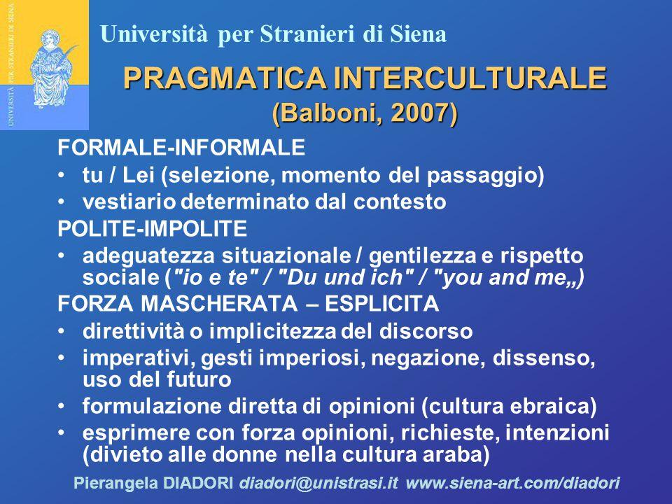 """Università per Stranieri di Siena Pierangela DIADORI diadori@unistrasi.it www.siena-art.com/diadori PRAGMATICA INTERCULTURALE (Balboni, 2007) FORMALE-INFORMALE tu / Lei (selezione, momento del passaggio) vestiario determinato dal contesto POLITE-IMPOLITE adeguatezza situazionale / gentilezza e rispetto sociale ( io e te / Du und ich / you and me"""") FORZA MASCHERATA – ESPLICITA direttività o implicitezza del discorso imperativi, gesti imperiosi, negazione, dissenso, uso del futuro formulazione diretta di opinioni (cultura ebraica) esprimere con forza opinioni, richieste, intenzioni (divieto alle donne nella cultura araba)"""