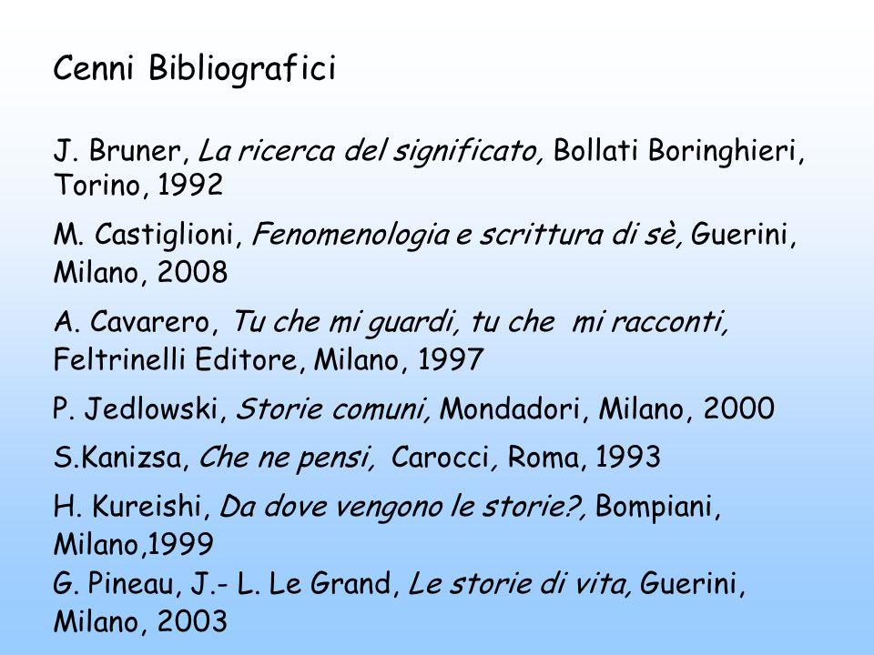 Cenni Bibliografici J. Bruner, La ricerca del significato, Bollati Boringhieri, Torino, 1992 M.