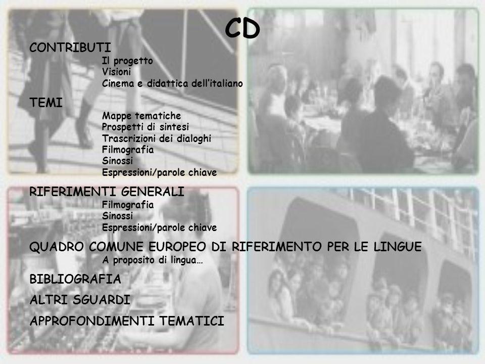 CD CONTRIBUTI Il progetto Visioni Cinema e didattica dell'italiano TEMI Mappe tematiche Prospetti di sintesi Trascrizioni dei dialoghi Filmografia Sin