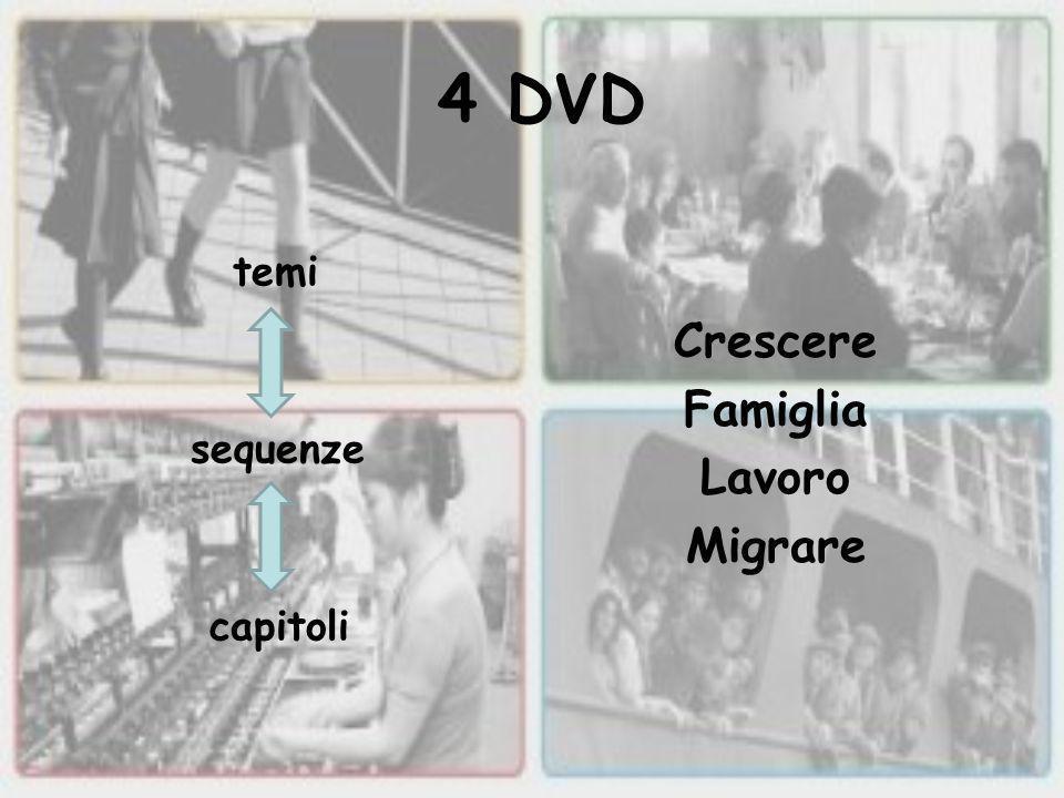 4 DVD Crescere Famiglia Lavoro Migrare temi sequenze capitoli