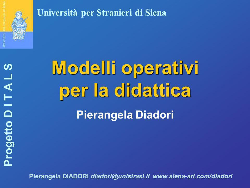 Università per Stranieri di Siena Progetto D I T A L S Pierangela DIADORI diadori@unistrasi.it www.siena-art.com/diadori Modelli operativi per la dida