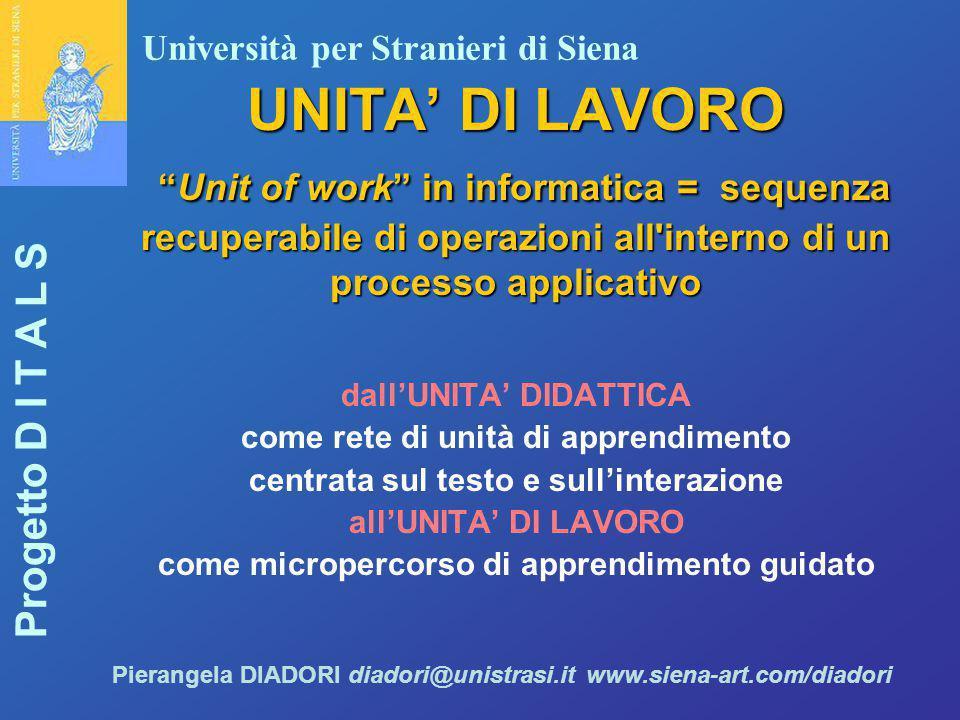 """Università per Stranieri di Siena Progetto D I T A L S Pierangela DIADORI diadori@unistrasi.it www.siena-art.com/diadori UNITA' DI LAVORO """"Unit of wor"""