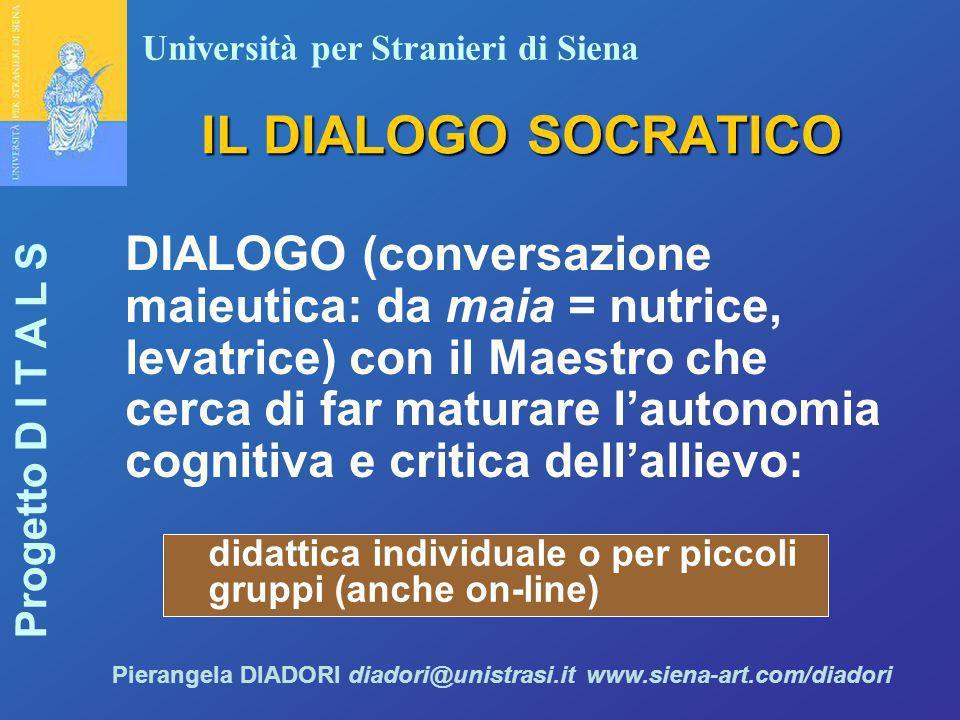 Università per Stranieri di Siena Progetto D I T A L S Pierangela DIADORI diadori@unistrasi.it www.siena-art.com/diadori IL DIALOGO SOCRATICO DIALOGO
