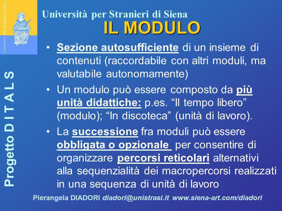Università per Stranieri di Siena Progetto D I T A L S Pierangela DIADORI diadori@unistrasi.it www.siena-art.com/diadori IL MODULO Sezione autosuffici