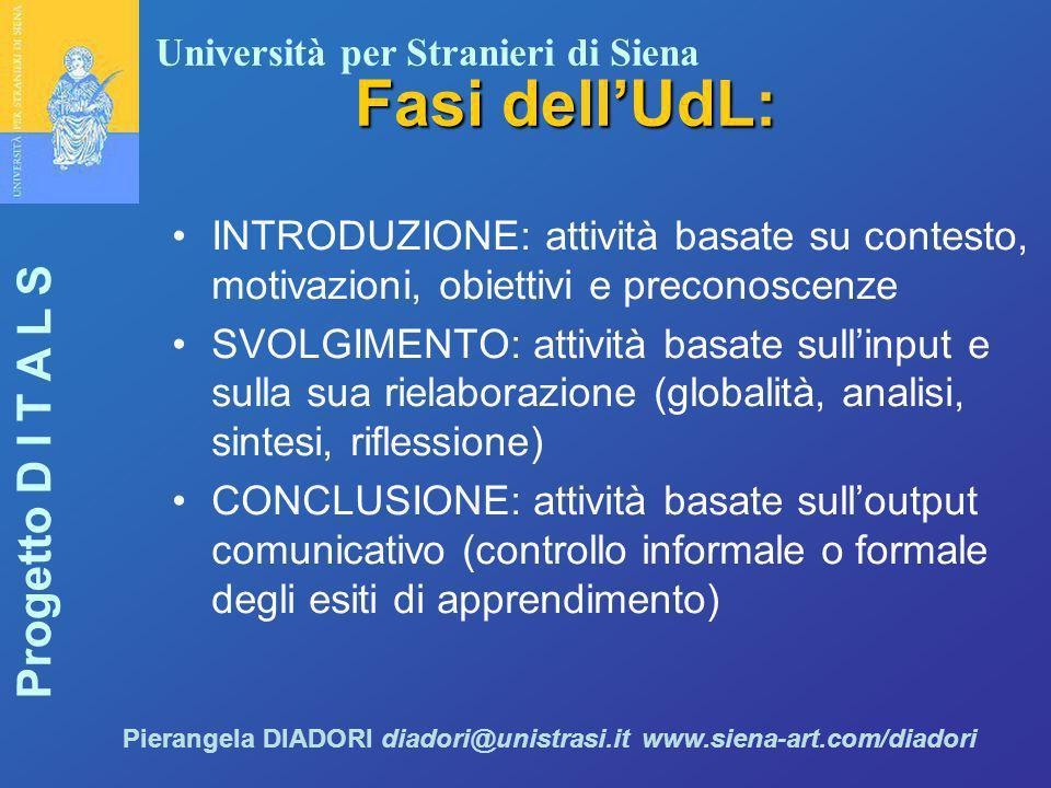 Università per Stranieri di Siena Progetto D I T A L S Pierangela DIADORI diadori@unistrasi.it www.siena-art.com/diadori Fasi dell'UdL: INTRODUZIONE:
