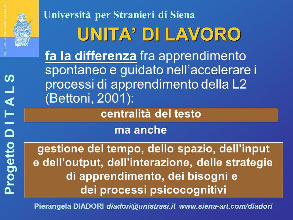 Università per Stranieri di Siena Progetto D I T A L S Pierangela DIADORI diadori@unistrasi.it www.siena-art.com/diadori UNITA' DI LAVORO fa la differ