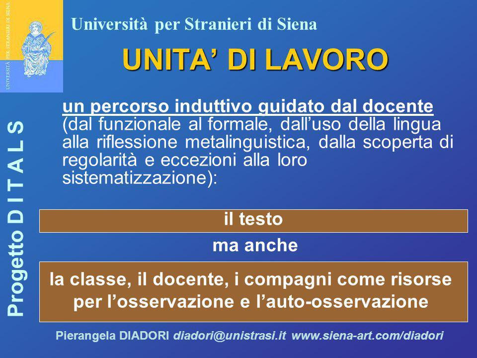 Università per Stranieri di Siena Progetto D I T A L S Pierangela DIADORI diadori@unistrasi.it www.siena-art.com/diadori UNITA' DI LAVORO un percorso