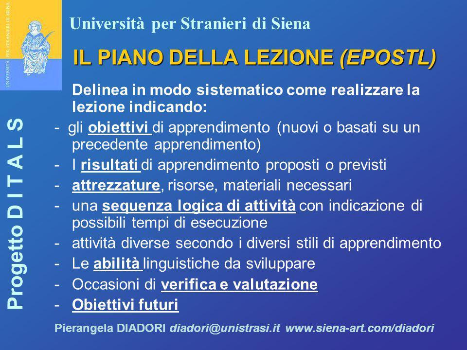 Università per Stranieri di Siena Progetto D I T A L S Pierangela DIADORI diadori@unistrasi.it www.siena-art.com/diadori IL PIANO DELLA LEZIONE (EPOST
