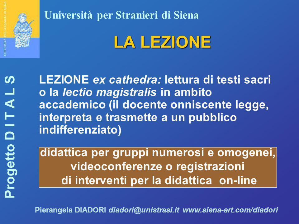 Università per Stranieri di Siena Progetto D I T A L S Pierangela DIADORI diadori@unistrasi.it www.siena-art.com/diadori LA LEZIONE LEZIONE ex cathedr