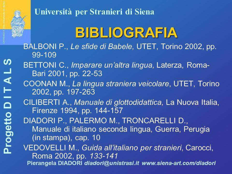 Università per Stranieri di Siena Progetto D I T A L S Pierangela DIADORI diadori@unistrasi.it www.siena-art.com/diadori BIBLIOGRAFIA BALBONI P., Le s