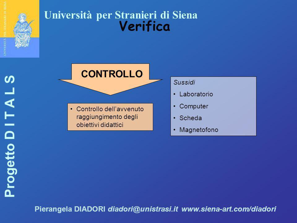 Università per Stranieri di Siena Progetto D I T A L S Pierangela DIADORI diadori@unistrasi.it www.siena-art.com/diadori Verifica Controllo dell'avven