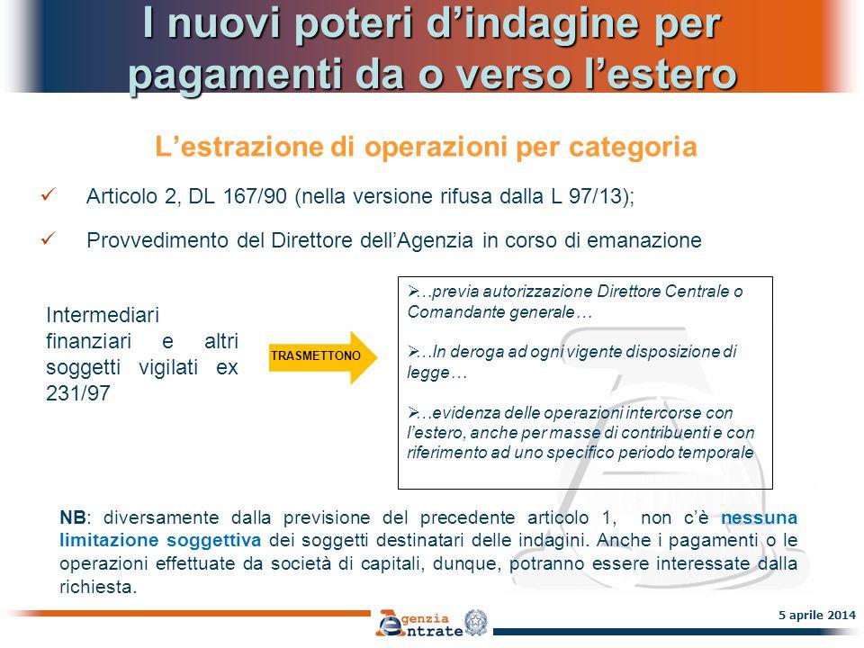 I nuovi poteri d'indagine per pagamenti da o verso l'estero L'estrazione di operazioni per categoria Articolo 2, DL 167/90 (nella versione rifusa dall