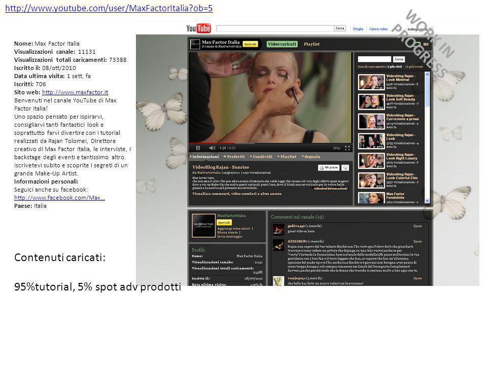 http://www.youtube.com/user/MaxFactorItalia ob=5 Nome: Max Factor Italia Visualizzazioni canale: 11131 Visualizzazioni totali caricamenti: 73388 Iscritto il: 08/ott/2010 Data ultima visita: 1 sett.