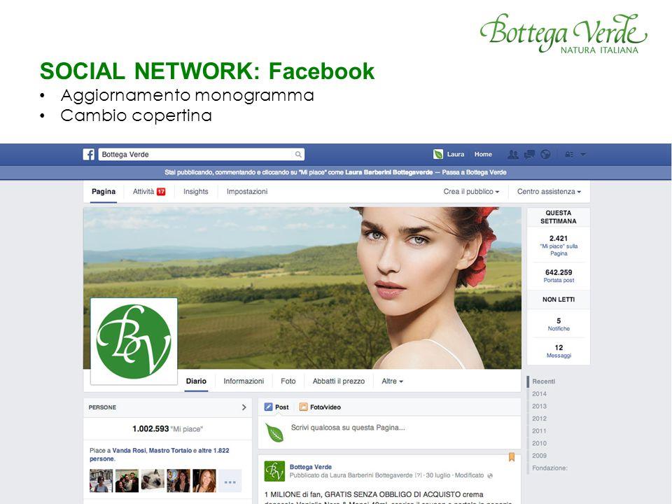 SOCIAL NETWORK: Facebook Aggiornamento monogramma Cambio copertina