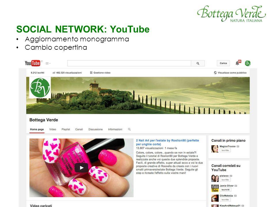 SOCIAL NETWORK: YouTube Aggiornamento monogramma Cambio copertina