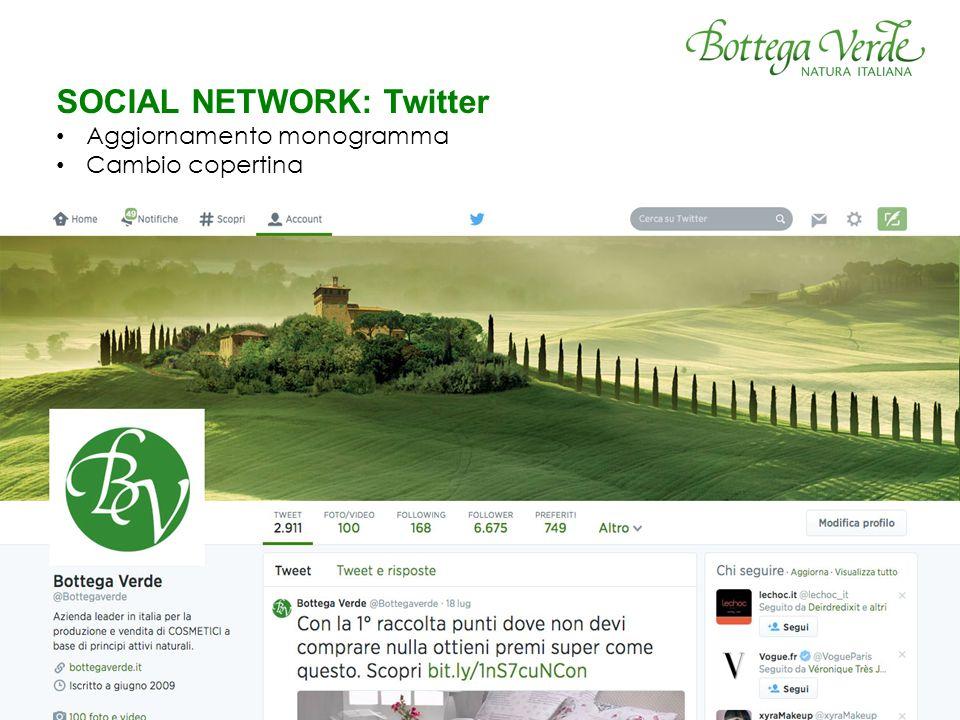 SOCIAL NETWORK: Twitter Aggiornamento monogramma Cambio copertina