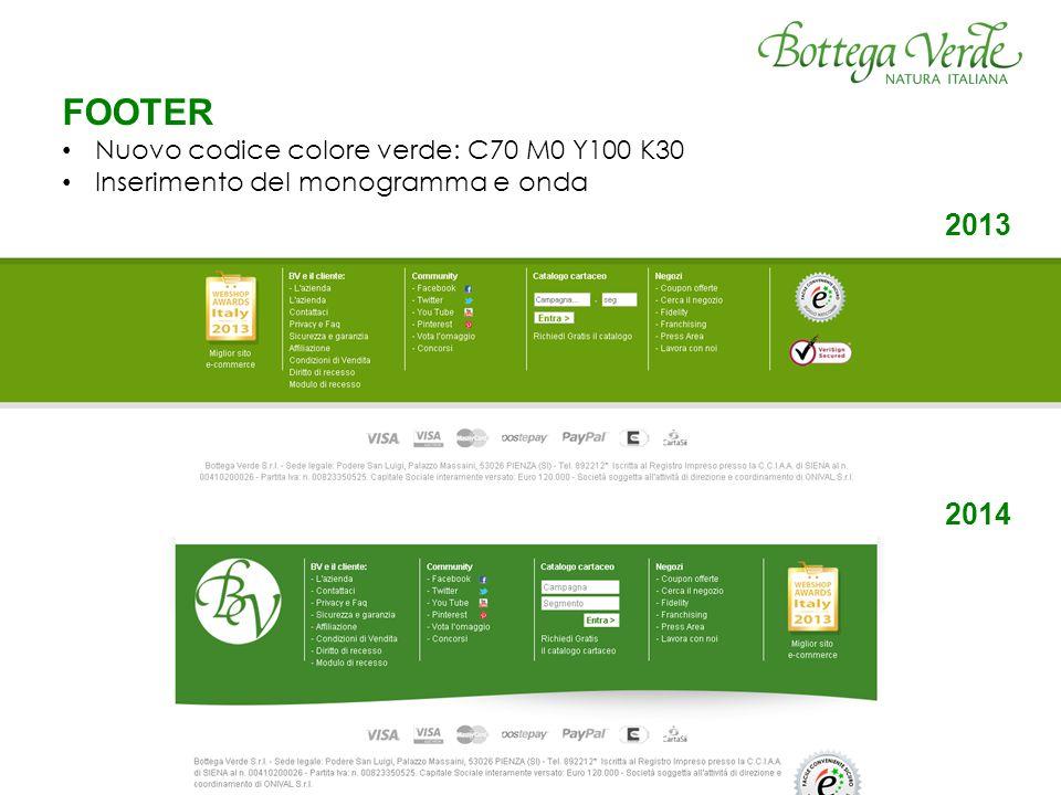 FOOTER Nuovo codice colore verde: C70 M0 Y100 K30 Inserimento del monogramma e onda 2013 2014