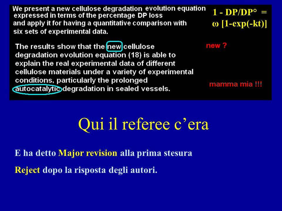 Qui il referee c'era E ha detto Major revision alla prima stesura Reject dopo la risposta degli autori. 1 - DP/DP° = ω [1-exp(-kt)]